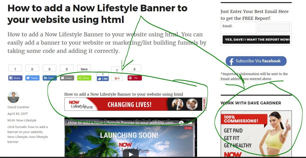 How to add a Now Lifestyle Banner to your wesbsite with html