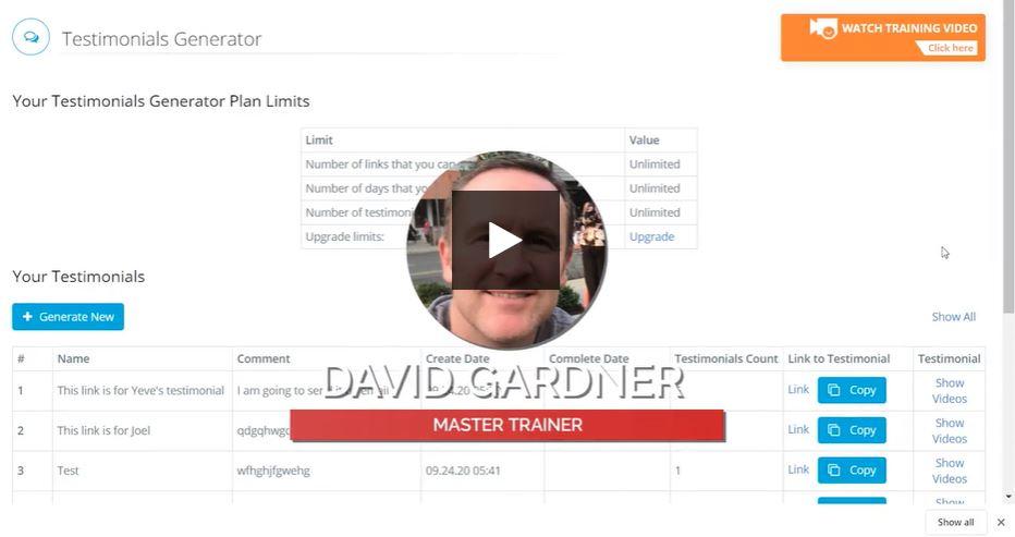 Testimonial Generator Master Trainer Dave Gardner
